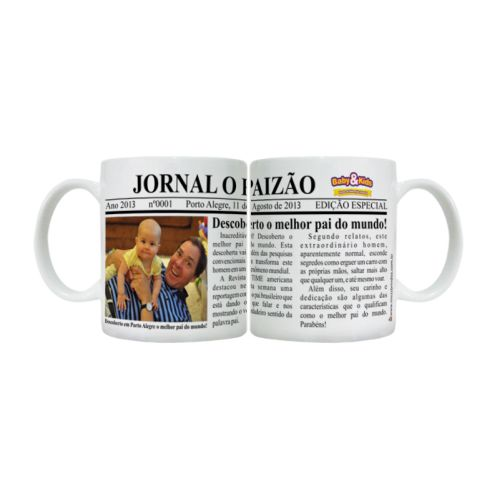 Caneca Personalizada Dia dos Pais Jornal O Paizão