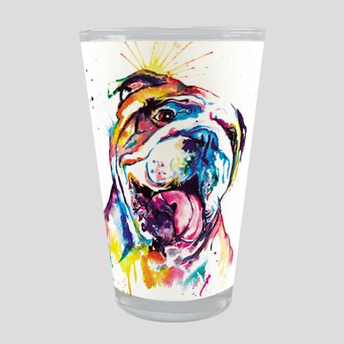 raça bulldog inglês copo de vidro